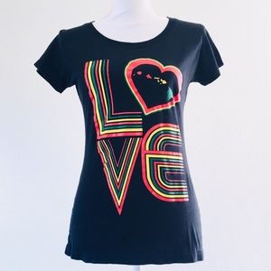 Vintage LOVE Rasta tee shirt heart stripe Hawaiian